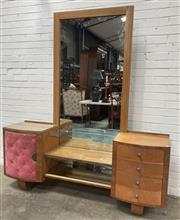 Sale 9063 - Lot 1012 - Art Deco Mirrored Back Dresser With Four Drawers & Single Door (H202 x W117 x D51cm)