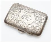 Sale 9085S - Lot 35 - George V Sterling Silver cigarette case, hallmarked Birmingham 1912, maker J.G.L, of pillow form and engraved with acanthus motifs,...