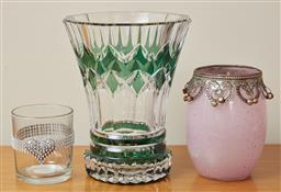 Sale 9098H - Lot 100 - A group of sundry glass vases including a cased Bohemian example (large crack), an Amethyst ovoid vase and a small votive with heart...