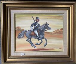Sale 9139 - Lot 2030 - Joseph Shearer - The Great Australian Horseman, NSW police 26 x 33 cm (frame 53 x 51 x 5 cm)