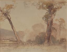 Sale 9170A - Lot 5042 - THOMAS (TOM) GARRETT(1879 - 1952) Settler monotype 23 x 30 cm (frame: 39 x 45 x 4 cm) signed lower right