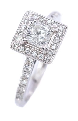 Sale 9191H - Lot 77 - AN 18CT WHITE GOLD DIAMOND CLUSTER RING; corner claw set with a princess cut diamnd of 0.57ct G/SI2 to surround, gallery and upswept...