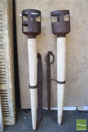 Sale 8390 - Lot 1384 - Pair of Large Metal & Composite Wall Torches