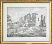 Sale 8665A - Lot 5090 - Dutch School (Early C19th) - Milkmaid and Shepherd in Foreground of Castle Ruin, 1817 26 x 34cm