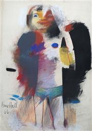 Sale 8410A - Lot 5008 - Anne Hall (1945 - ) - Untitled, 1966 (Standing Figure) 101.5 x 70.5cm (sheet size)