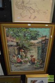 Sale 8458 - Lot 2042 - Indonesian School (XX) - Untitled (Cooking Villagers) 65 x 50cm