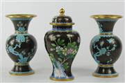 Sale 8581 - Lot 1 - A Pair of Black Cloisonne Vases with Similar Lidded Vase