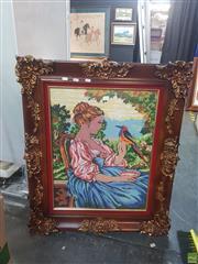Sale 8595 - Lot 2095 - Ornate Timber Framed Tapestry