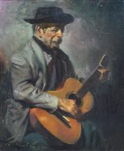 Sale 8652A - Lot 5056 - Morando Luque (1915- ) - El Gaucho Guitarrista, c1960 47.5 x 37.5cm