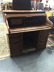 Sale 8676 - Lot 1135 - Oak Roll Top Desk