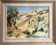Sale 8759 - Lot 2056 - P Bergman - Ancient Ruin oil on board, 64 x 79cm (frame) signed lower right -
