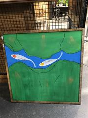 Sale 8784 - Lot 2046 - Artist Unknown - Red and Yellow Koi Fish acrylic on canvas, 70 x 70cm, signed lower left