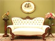 Sale 8925H - Lot 5 - An antique walnut and damask fabric button back sofa, fine carving, Height 95cm, Width 165cm, Depth 86cm