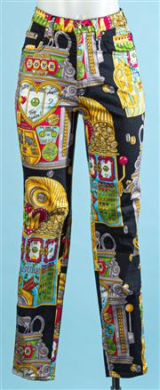 Sale 9090F - Lot 24 - A PAIR OF RARE MOSCHINO HIGH WAISTED JEANS; printed all over with gold gold bejwelled pieces, size 26 waist