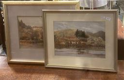 Sale 9106 - Lot 2033 - F.S Rodriguez (2 works) Tasmanian Harbour scenes, 1927 &1928 watercolour , frame: 38 x 47 cm and 48 53 cm, signed and dated lower...
