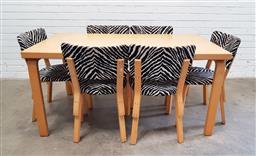 Sale 9117 - Lot 1084 - Seven piece Artek dining suite by Alvar Aalto with 6 chairs & blonde wood table (h74 x w152 x d86cm)
