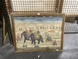 Sale 9111 - Lot 2058 - Indo-Persian School Tiger Hunting Scene, gouache on cotton (A.F), frame: 50 x 56 cm