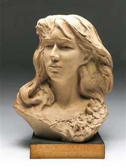 Sale 9156 - Lot 5 - Large plaster bust of a woman (H:50cm)