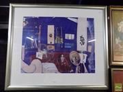 Sale 8407T - Lot 2047 - Brett Whiteley (1932 - 199) - Self Portrait in the Studio 53 x 69cm (frame size: 81.5 x 95.5cm )