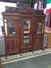 Sale 8601 - Lot 1180 - Carved Timber Colonial Style Mirrored Divider (H:205 W:180cm)
