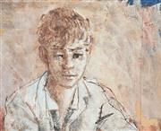 Sale 8755 - Lot 526 - Donald Friend (1915 - 1989) - Portrait of Balinese Boy 32.5 x 40.5cm