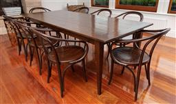 Sale 9134H - Lot 29 - An Original Finish rectangular aged oak dining table on tapered legs. Height 77cmx Length 241cm x width 100cm