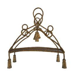 Sale 9150J - Lot 55 - A vintage French gilt metal rope twist design magazine rack - 55T x 45W x 20D
