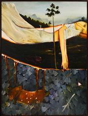 Sale 8316 - Lot 529 - John Lendis (1950 - ) - Woman with Dog in Landscape 161 x 120cm