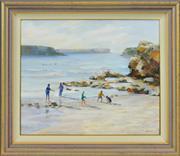 Sale 8323A - Lot 40 - Mary Simpson (XX) - Friends at the Beach 50 x 60cm