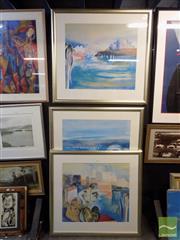 Sale 8407T - Lot 2026 - Susan Baird (1964 - ) - Sydney Harbour (triptych) 63 x 70.5cm, each (frame size: 91.5 x 97.5, each)