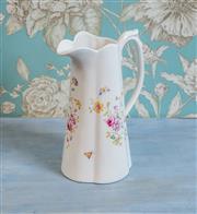 Sale 8500A - Lot 68 - A vintage style floral porcelain water pitcher - Condition: As New - Measurements:  25cm high