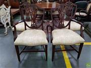 Sale 8576 - Lot 1053 - Set of 8 + 2 Hepplewhite Style Mahogany Dining Chairs, the set of 8 chairs with two armchairs, having shield backs, the slats carved...