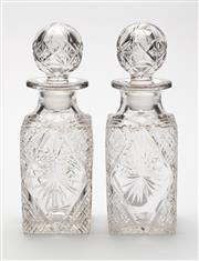 Sale 8620A - Lot 56 - A lovely pair of antique hand cut lead crystal perfume bottles c. 1910, H 15cm.