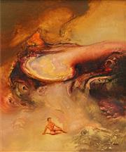 Sale 8652 - Lot 549 - James Gleeson (1915 - 2018) - Figure in Psychoscape 15 x 12.5cm