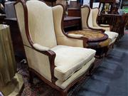 Sale 8724 - Lot 1095 - Pair of Fabric Upholstered Wing Back Armchairs