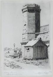Sale 8821A - Lot 5061 - Alfred Coffey (1869 - 1950) - Stone Tower, Fort Macquarie, Bennelong Point, 1929 17 x 11cm