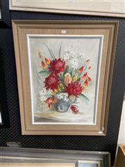 Sale 8914 - Lot 2077 - Joyce Harris - Still Life - Mixed Flowers oil on canvas board, 78 x 63cm (frame), signed