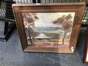 Sale 8981 - Lot 2036 - Artist Unknown A Settlers Cottage 1949 oil on board, 40 x 46cm (frame) signed and dated