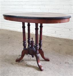 Sale 9097 - Lot 1095 - Victorian Inlaid Walnut Oval Occasional Table, with bird-cage base (h69 x w86 x d42cm)