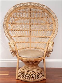 Sale 9134H - Lot 6 - An impressive natural cane peacock chair with a circular cushion, height 147cm