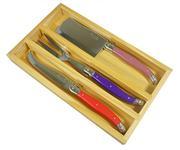 Sale 8292B - Lot 36 - Laguiole by Andre Aubrac 3-Piece Cheese Set w Multi Coloured Handles RRP $70