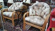 Sale 8390 - Lot 1584 - Pair of Cane Armchairs with Rattan Sides & Cushions