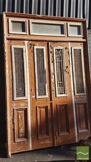 Sale 8390 - Lot 1338B - Large Timber Door with Iron Insert Windows (295 x 200cm)