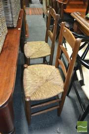 Sale 8428 - Lot 1028 - Pair of rustic French 19th century kitchen chairs