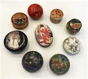 Sale 8436A - Lot 41 - A group of nine various miniature lidded boxes including cloisonné, alabaster and timber.