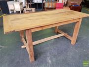 Sale 8620 - Lot 1087 - Recycled Elm Rustic Farmhouse Table (H: 77 L: 184 W: 90cm)