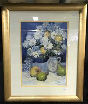 Sale 8563T - Lot 2068 - Sylvia Pollett - Daisies and Fruit, oil on canvas board, 45 x 32cm, signed lower right