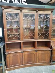 Sale 8570 - Lot 1009 - Curved Front 3 Piece Bookcase (215 x 170 x 44cm)