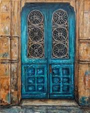 Sale 8675A - Lot 5055 - Stanley Perl (1942 - ) - Aqua Door (Doors of India Series) 50.5 x 40cm