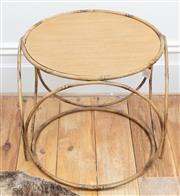 Sale 9070H - Lot 53 - A compressed spherical design occasional table with tray top and faux bamboo supports, Height 44cm Diameter 47cm